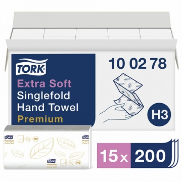 100278  Бумажные листовые полотенца Tork Premium Singlefold сложения ZZ ультрамягкие