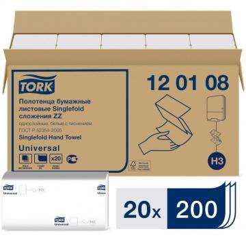120108 Tork Universal бумажные листовые полотенца Singlefold ZZ - сложения