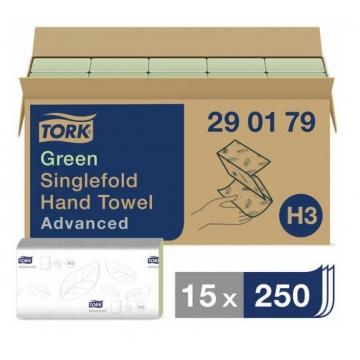 290179 Бумажные листовые полотенца Tork Advanced Singlefold ZZ - сложения зеленые