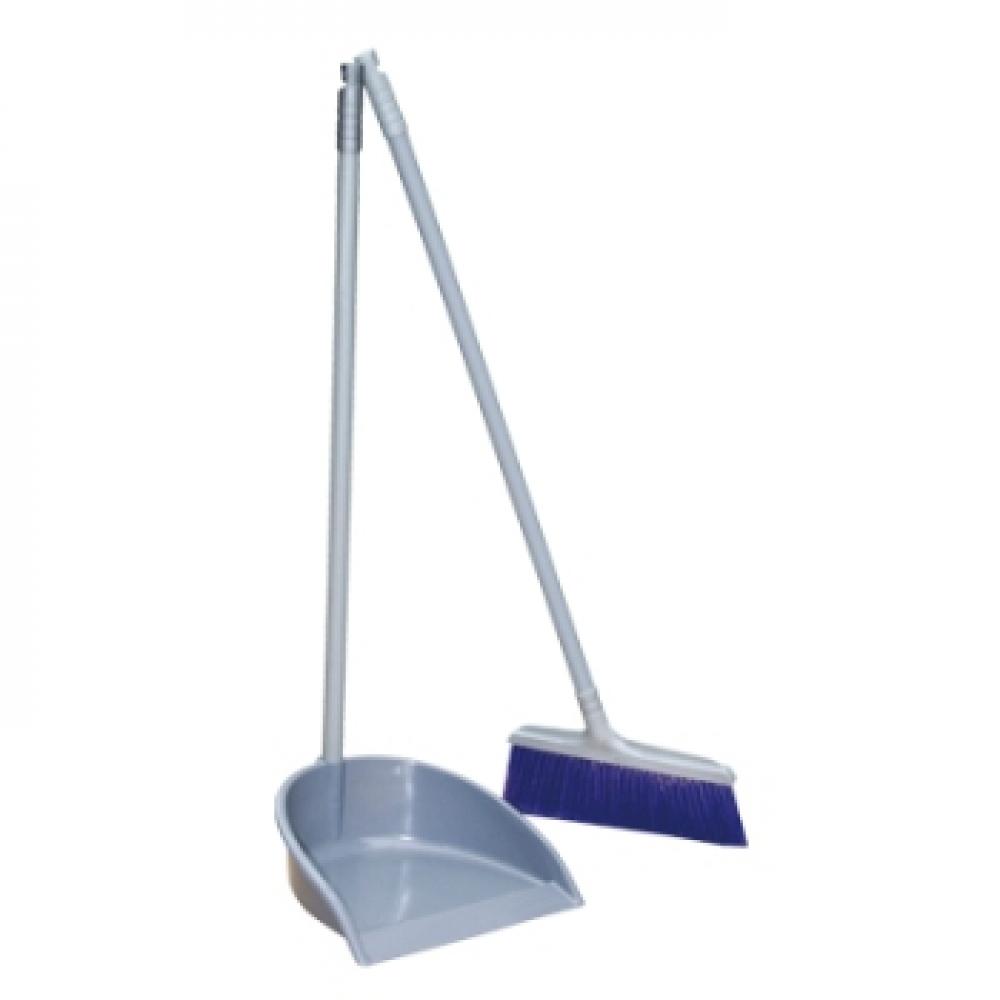 402992 Совок+Щетка Ленивка (пластик) синяя щетина (10)