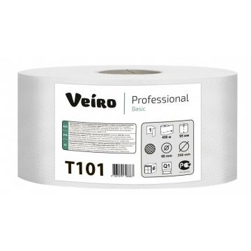 T101 Туалетная бумага в больших рулонах Veiro Professional Basic 1слой 450 метров