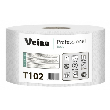 T102 Туалетная бумага в средних рулонах Veiro Professional Basic 1 слой, 200 метров