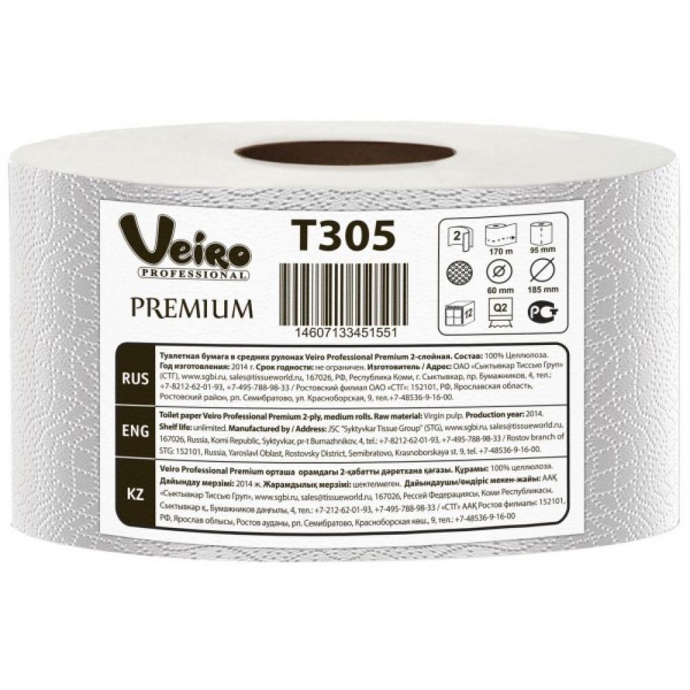 T305 Туалетная бумага в средних рулонах Veiro Professional Premium 2 слоя, 170 метров