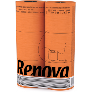 "RT 1726 Туалетная бумага Orange ""Renova RedLabel"" 2 слоя, 6 рулонов"