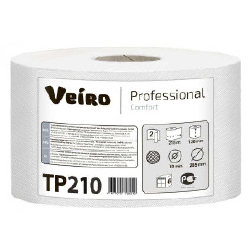 TP210 Туалетная бумага в рулонах с центральной вытяжкой Veiro Professional Comfort 2 слоя, 215 метров
