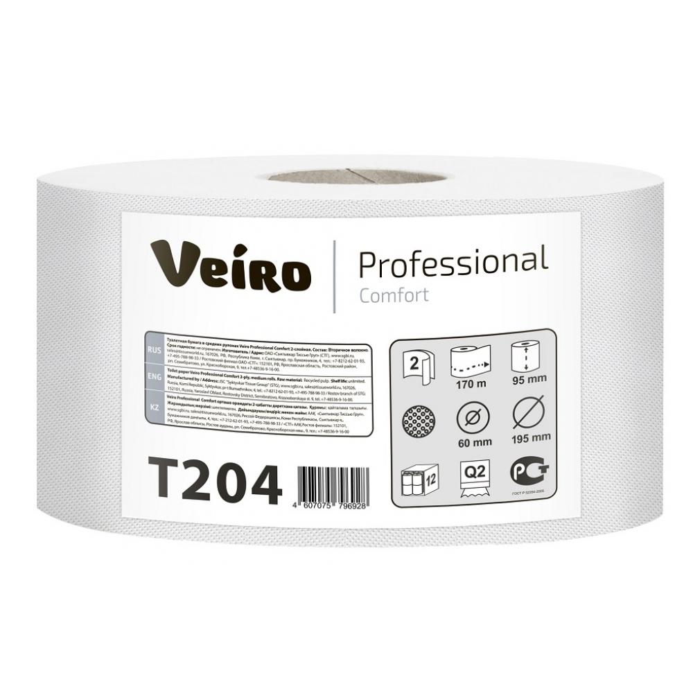 T204 Туалетная бумага в средних рулонах Veiro Professional Comfort 2 слоя, 170 метров