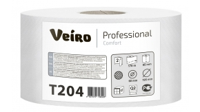 T204 Туалетная бумага в средних рулонах Veiro Professional Comfort 2 слоя 170 метров