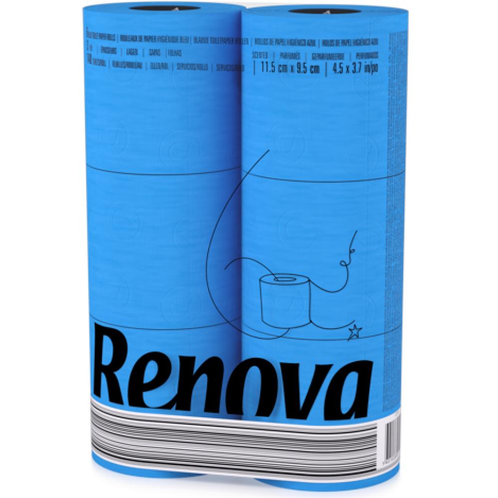 "RT 1736 Туалетная бумага ""Renova Blue"" 3 слоя, 6 рулонов"