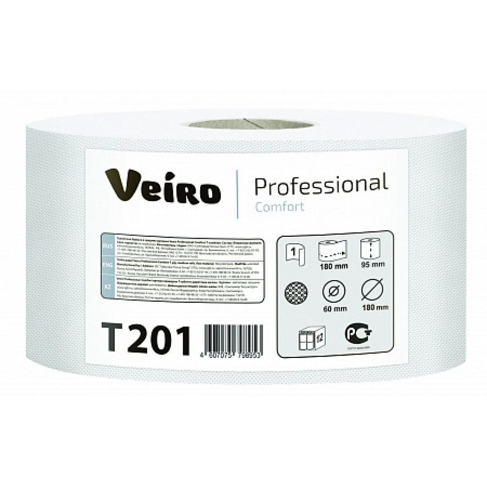 T201 Туалетная бумага в средних рулонах Veiro Professional Comfort 1 слой,200 метров