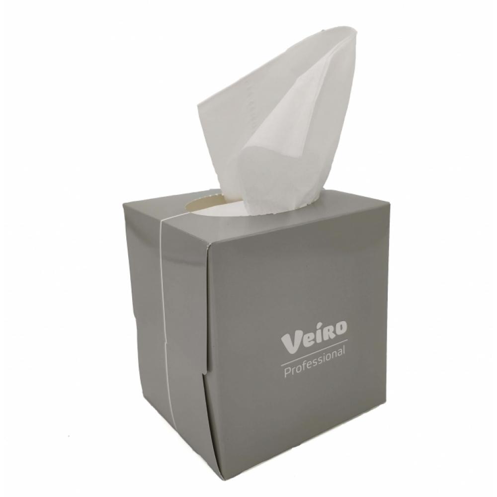 Veiro Professional Premium N303 Салфетки косметические в кубе 2 слоя белые 80 шт 20*20см.