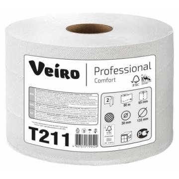 T211 Туалетная бумага в мини рулонах с центральной вытяжкой Veiro Professional Comfort 2слоя 80метров
